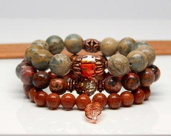 Boho jewelry, stacking bracelets, bohemian bracelet, copper bracelet stack, bohemian stackable bracelet set