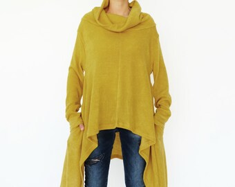 NO.189 Mustard Yellow Knitted Cowl Neck Long Sleeves Sweater, Knit Asymmetric Sweater, Women's Sweater