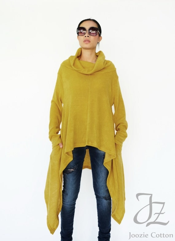 NO.189 Mustard Yellow Knitted Cowl Neck Long Sleeves Sweater
