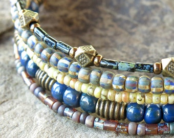 Beaded bracelet stack - Boho blue & brown picasso glass and shell beads