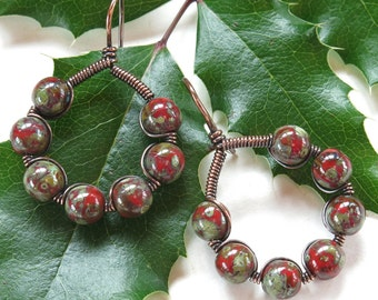 Red bead earrings - Picasso glass copper wire wrapped hoops