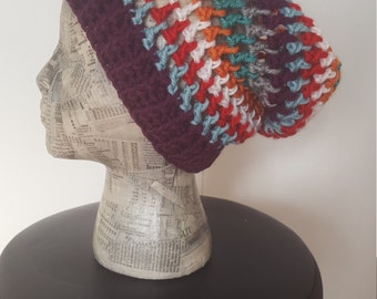 The Perfect Slouchy Beanie -- Colorful Stripes