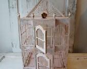Distressed wedding birdcage shabby cottage chic vintage pink w/ white wooden bird cage summer events garden or home decor anita spero design