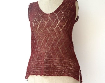 SUMMER SALE 25OFF hand-knitted top, burgundy himalayan nettle tank top, size small to medium