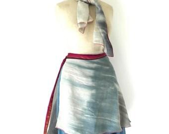 reversible linen cotton wrap skirt, wrap skirt, size small to medium