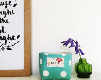 Turquoise mini fabric box - box with hand stamped label - polka dot basket - vintage style floral - neon orange detailing - gift for mum