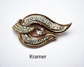 Rhinestone Brooch - signed Kramer - Swirl wave Leaf - design gold tone setting - Mid Century Pin