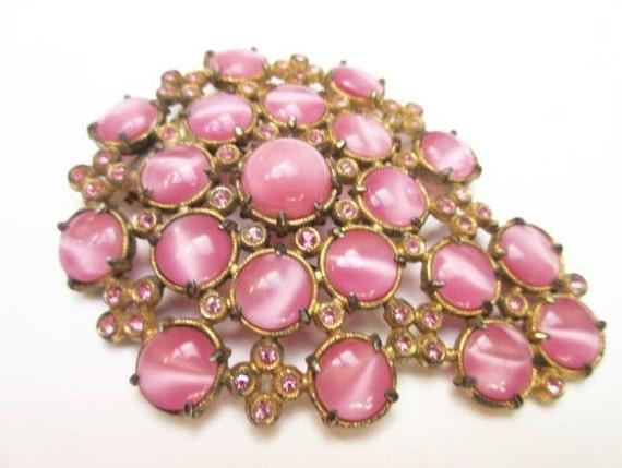 Pink Fur Clip - Moonstone  Rhinestone - Glass cats eye -Dress Clip