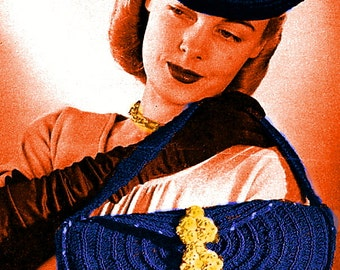 Almost FREE Vintage 1940's Classic Tam & Handbag #292 PDF Digital Crochet Pattern