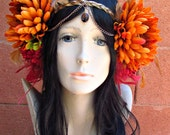 Fall Floral Headdress, Floral Headpiece, Flower Crown, Feather Headdress, Feather Hair Accessories, Flower Headdress, Festival, Burningman