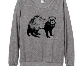 Ferret Womens Long sleeve Pullover shirt silkscreen