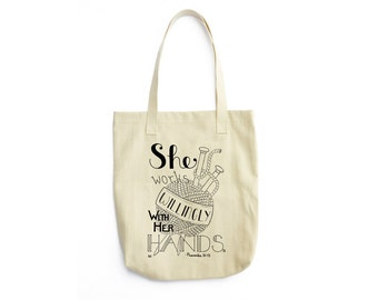 Knitting Tote, Knitting Bag, Proverbs 31 Tote Bag, Craft Tote, Canvas Tote, Tote Bag