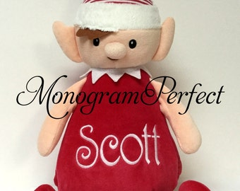 Personalized Christmas Red Striped Stuffed Elf Doll