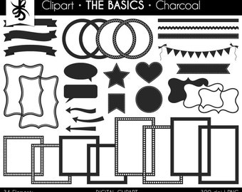 Digital Clipart-The Basics-Charcoal-Gray Digital Elements-Frames-Arrows-Flags-Banners-Labels-Ribbon-Borders-Instant Download Clip Art