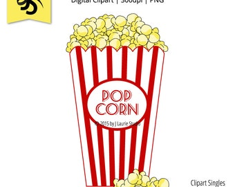 Digital Clipart-Clipart Singles-Popcorn-Movie Pop Corn-Movie Night-Image-Digital Scrapbook Element-PNG-Instant Download Clip Art
