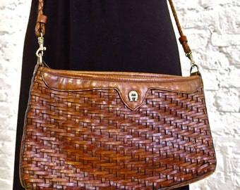 80s Etienne Aigner Woven Leather Cross Body Bag