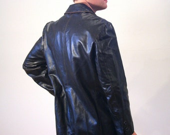 90s Oscar Leopold Leather Coat, Dark Brown Leather Jacket, Leather Car Coat, Long Leather Jacket, Dark Brown Leather Blazer, Size L