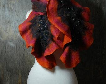 Nuno Felted scarf, felt scarf, felted ruffle scarf merino wool  silk  pink orange black winter wool scarf, gift