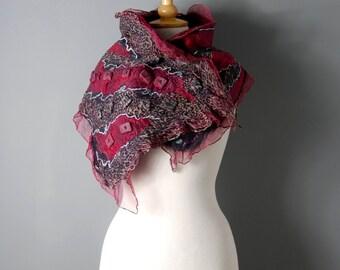 Felted collar scarf nuno felted neck warmers nuno felted silk scarf  black grey pink purple  felt jewelry nuno felted cowl wool scarf