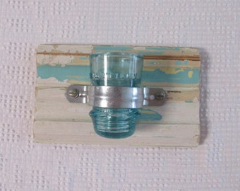 Handmade Candle Wall Sconce, Wood and Glass Insulator Candle Holder
