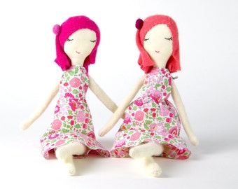 PINK FLORA DOLL - small size 14""