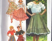 Vintage 1976 Simplicity 7842 Square Dance, Boho ,Gypsy, Peasant, Blouse & Skirt Sewing Pattern Size 18 Bust 40""