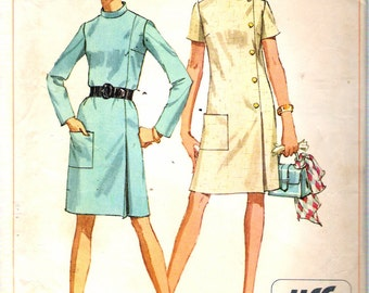 Vintage 1968 Simplicity 7850 Mod Jiffy Dress Sewing Pattern Size 10 Bust 32 1/2""