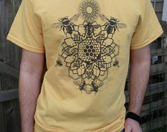 Bee Mandala Screen Print in Charcoal Gray on a Honey Yellow Colored Ultra Cotton Tshirt