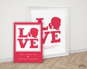 Valentines Day Card - Valentine Card AND Art Valentines Gift Decor - Silhouette LOVE Red Pink - Personalized Valentines Child Print Wall Art