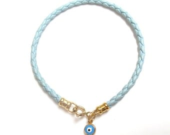 14k gold blue evil eye leather bracelet for good luck and protection charm