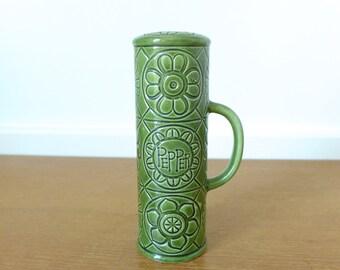 Green pottery flower power pepper shaker, made in Japan