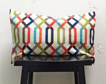 Retro Pillow Covers, 16x26 Multi-color Trellis Lumbar Pillow Covers- Set Of 2 decorative pillows, Lumbar Pillow Covers