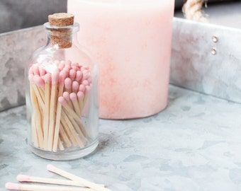 Blush Pink Matchstick Jar™. Pink matches. Colored matches. Stocking Stuffer. Gifts for her. Christmas gift. Hostess gift.