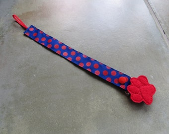 Pacifier Leash Paci Clip - Blue with Red Dots Ribbon