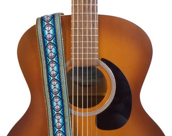 Hemp Guitar Strap - Teal Geometric Woven Ribbon on Organic Hemp Webbing - Vintage Style Strap - Acoustic, Electric and Bass Guitars
