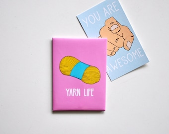 Cute Fridge Magnet: Yarn Life, Gift For Knitter, Crochet Knitting Wool Yarn Needlecraft