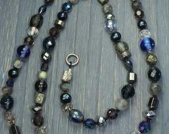 Long gemstone pearl pyrite hand knotted wrap necklace, crystal labradorite pyrite long, boho necklace, fools gold, black necklace,