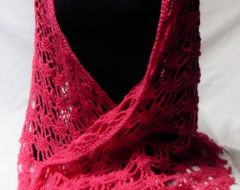 Mohair sequined lace crocheted shawl; fuchsia shawl crocheted with sequined yarn; rectangular crocheted lace shawl; dressy crocheted shawl