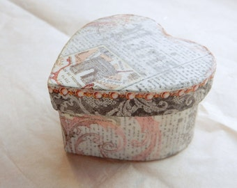 Heart Shaped Miniature Gift Box; romantic Paris print gift box; valentines day box; treasure box; keepsake box
