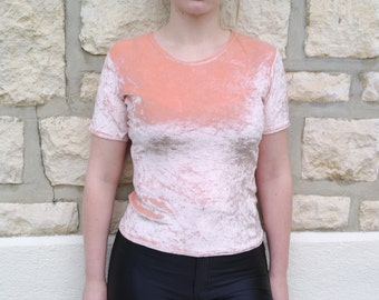 Vintage 80 Velvet salmon top T-shirt