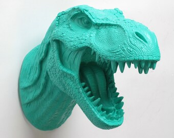 Dinosaur Head Wall Mount - The Crowley Turquoise Resin T-Rex Wall Decor - Trex Dinosaur Decor by White Faux Taxidermy- Jurassic Bedroom