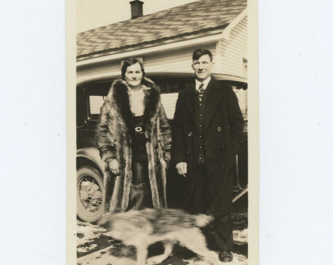 Couple, Blurred Dog, c1920s Vintage Snapshot Photo [71480]