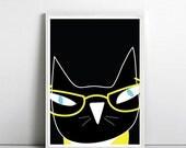 Minimalist poster, cat poster, Kids Room poster, Print, Poster, Cat art, Nursery Art, Crazy Cat Lady, Pop Art, art print by nicemiceforyou