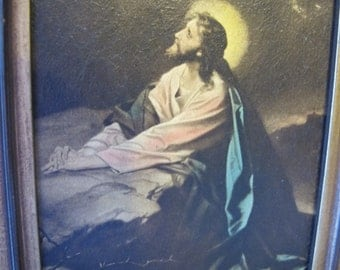 Christ in Gethsemane by Hofmann Hand tinted colored lithograph (?)Edward Gross Co. Inc. New York.Christian Home Decor Art Work Wall Hanging