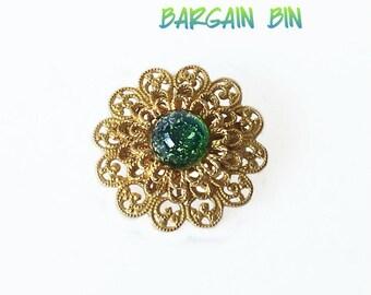 Vintage Filigree brooch Glass Cabochon center stone Gold Tone Bargain Bin