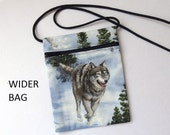 """Pouch Zip Bag WOLVES Fabric.  Great for walkers, markets, travel. Blue fabric Small Wolf Purse. Cell Phone Pouch. WIDER BAG  6.75"""" x 5.25"""""""