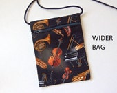 """Pouch Zip Bag MUSICAL Black Fabric - walkers, markets, travel.  Phone Pouch, Piano. Musical Instruments. small purse. WIDER 6.75 x 5"""""""