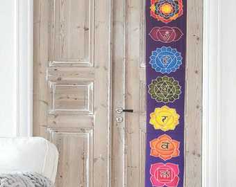 Summer sale 20%Off coupon code: SUMMERSALE2017   Wall hanging / Chakras Batik / Handpainted  / yoga decoration / Tapestry / sacred geometry