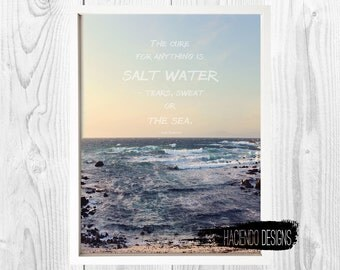 The Cure for Anything Quote Isak Dinesen Sea Photograph Print Digital Art Wall Decor