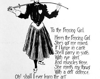 1909 TO the FENCING GIRL Toast Print by Nella Fontaine Binckley
